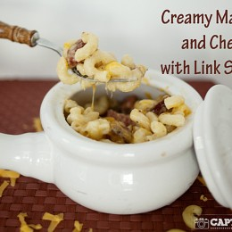 creamy macaroni and cheese with link sausage #pasta #cheese kristendukephotography.com