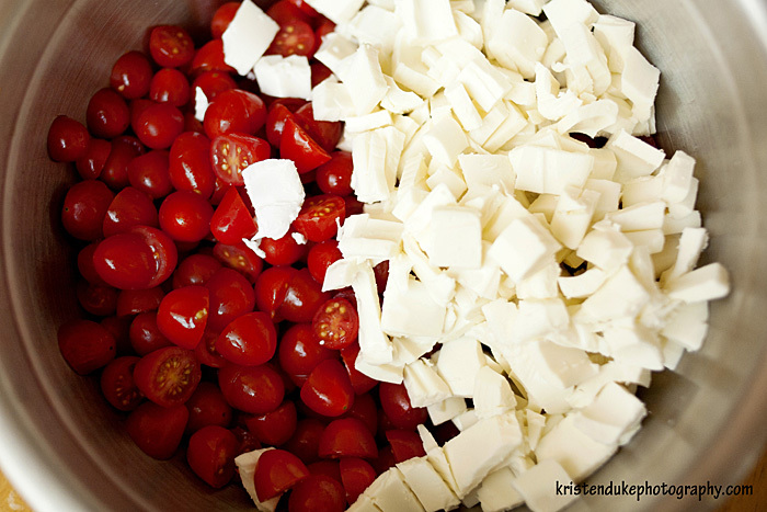 tomatoes and mozzarella in a bowl