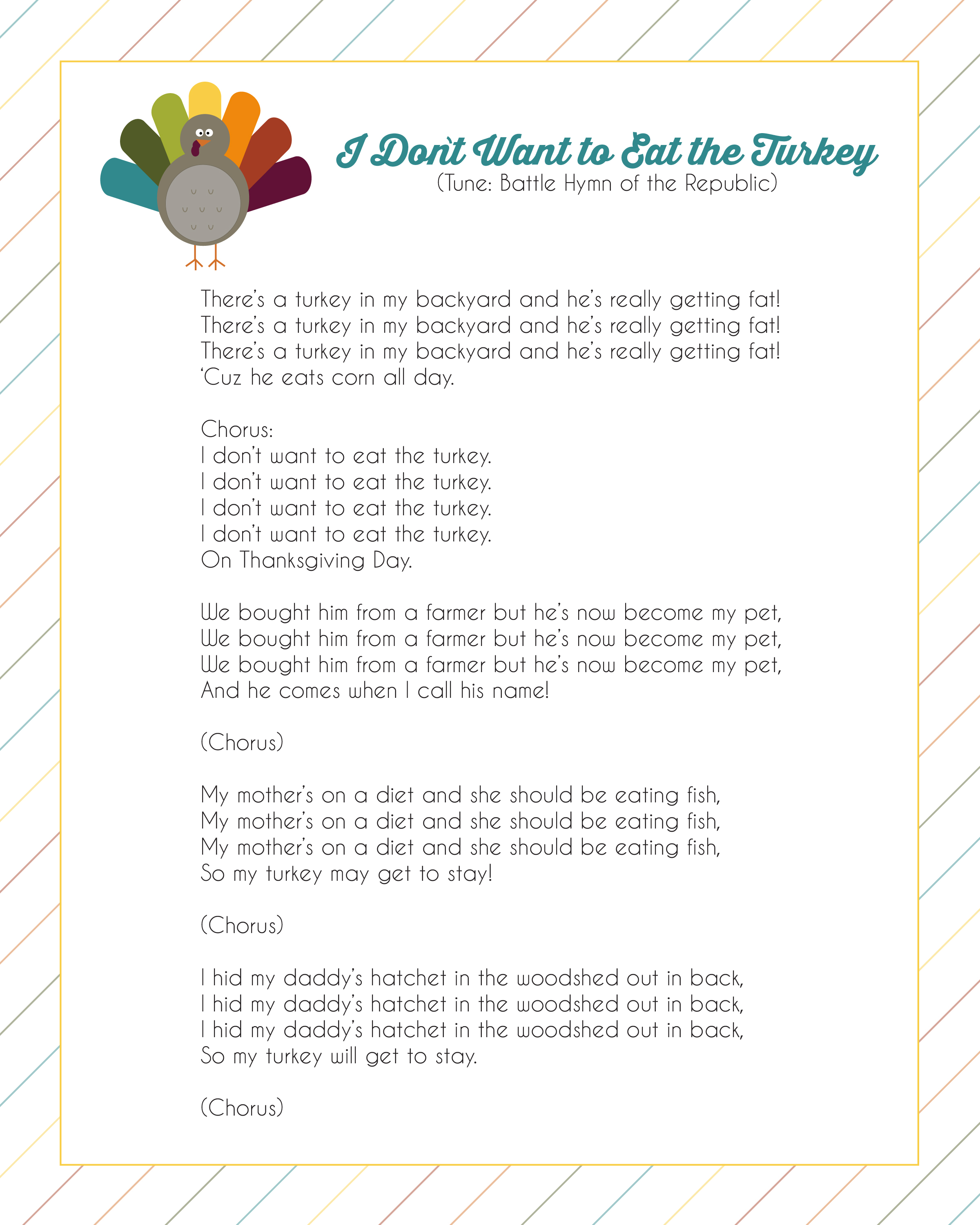 Thanksgiving Turkey Song I Don T Want To Eat The Turkey