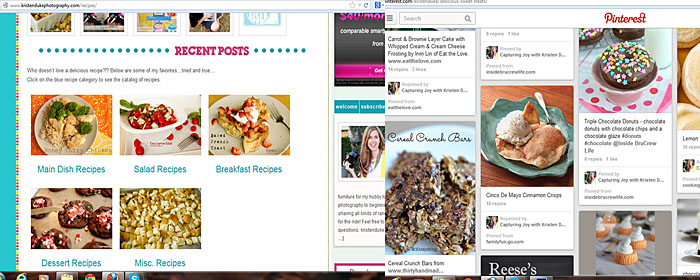 pinterest and recipes on blog