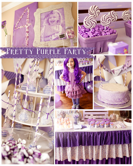 purple party collage