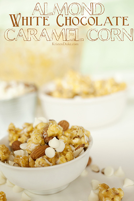 almond white chocolate caramel corn