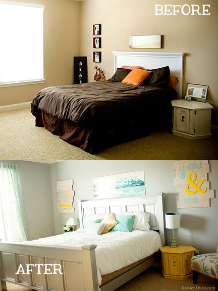 before and after of master bedroom