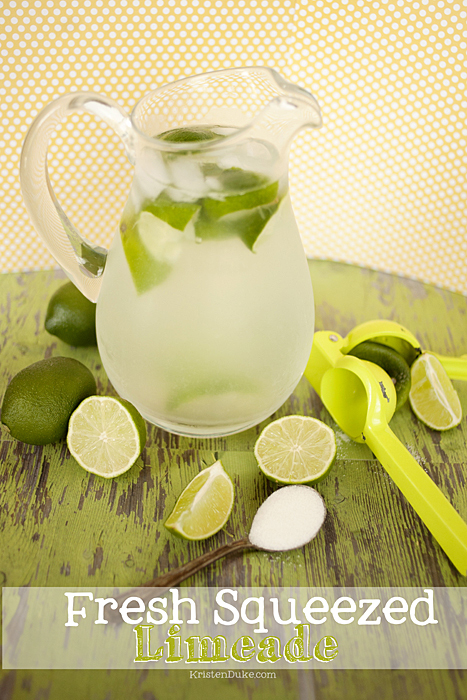 fresh squeezed limeade in glass pitcher