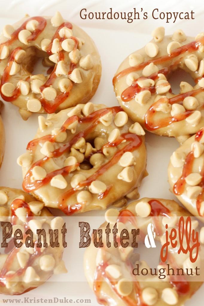 Gourdoughs copycat~peanut butter and jelly doughnut www.KristenDuke.com #doughnut #donut #peanutbutter