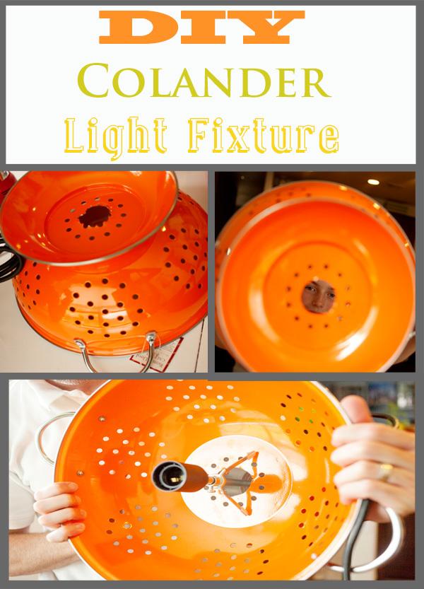 DIY colander light fixture #chandelier www.KristenDuke.com
