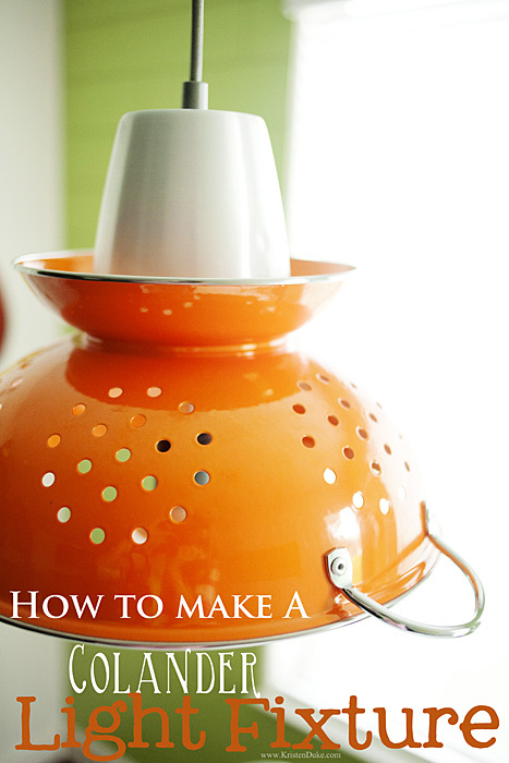 How to make a Colander light fixture #chandelier www.KristenDuke.com