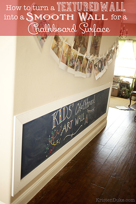 How to turn a textured wall into a smooth wall for a chalkboard surface, click to see 9 other Chalkboard projects by my creative friends!