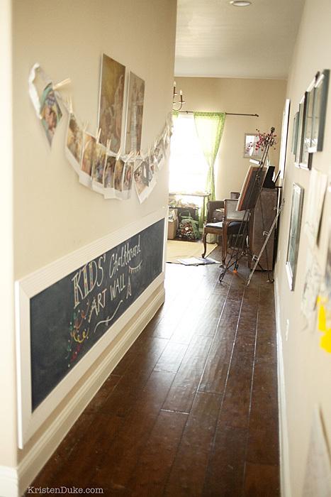 chalkboard in hallway