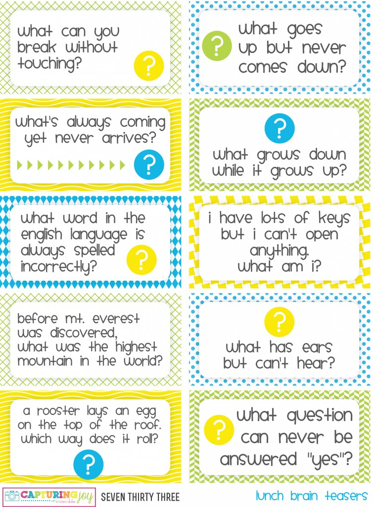 Printable Worksheets brain teasers worksheets for kids : Printable Kids Lunch Jokes and Brain Teasers