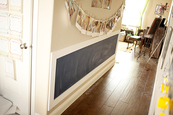 navy blue chalkboard wall