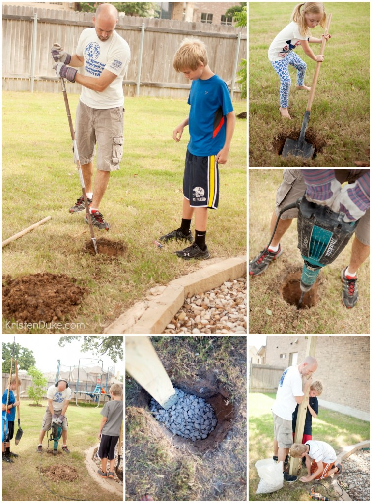 digging holes for treehouse