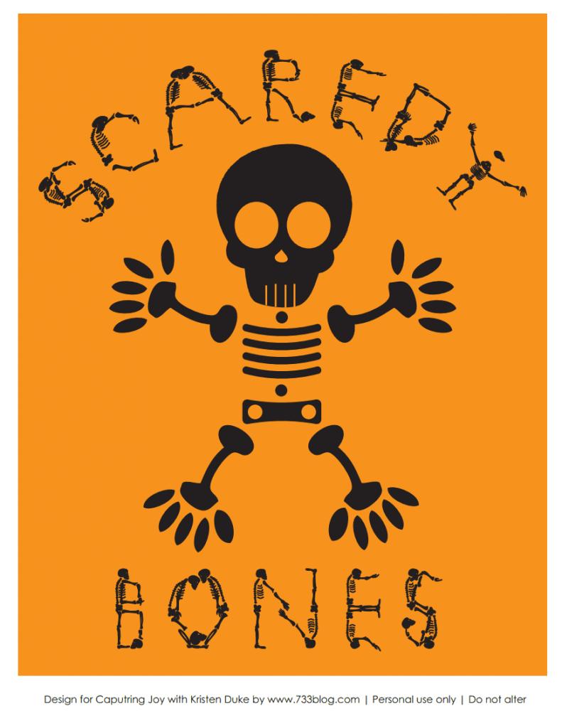 scaredy bones halloween printable