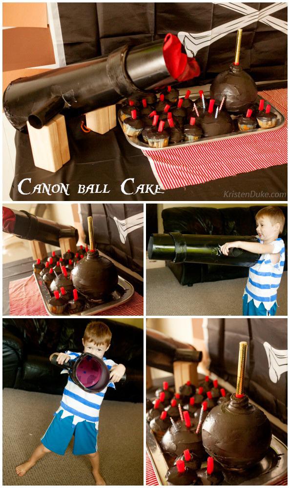 Canon and canon ball cake