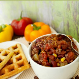 Chocolate Chili with Cornbread Waffles