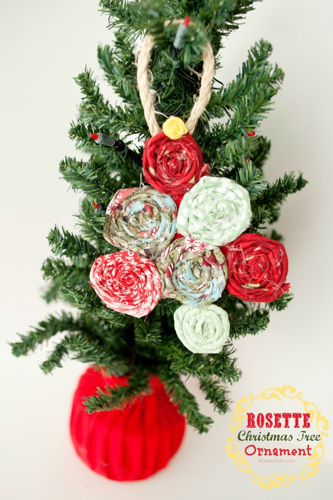 Fabric Rosette Christmas Tree Ornament