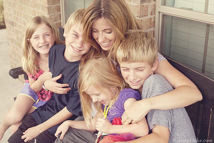 mom and kids