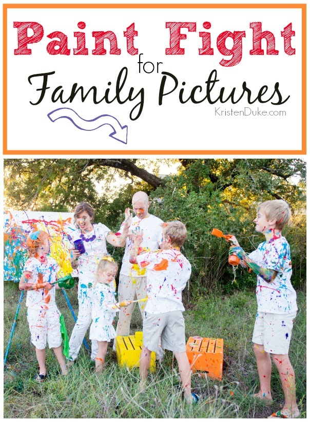 Paint fight for family pictures