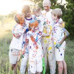 family photography paint fight