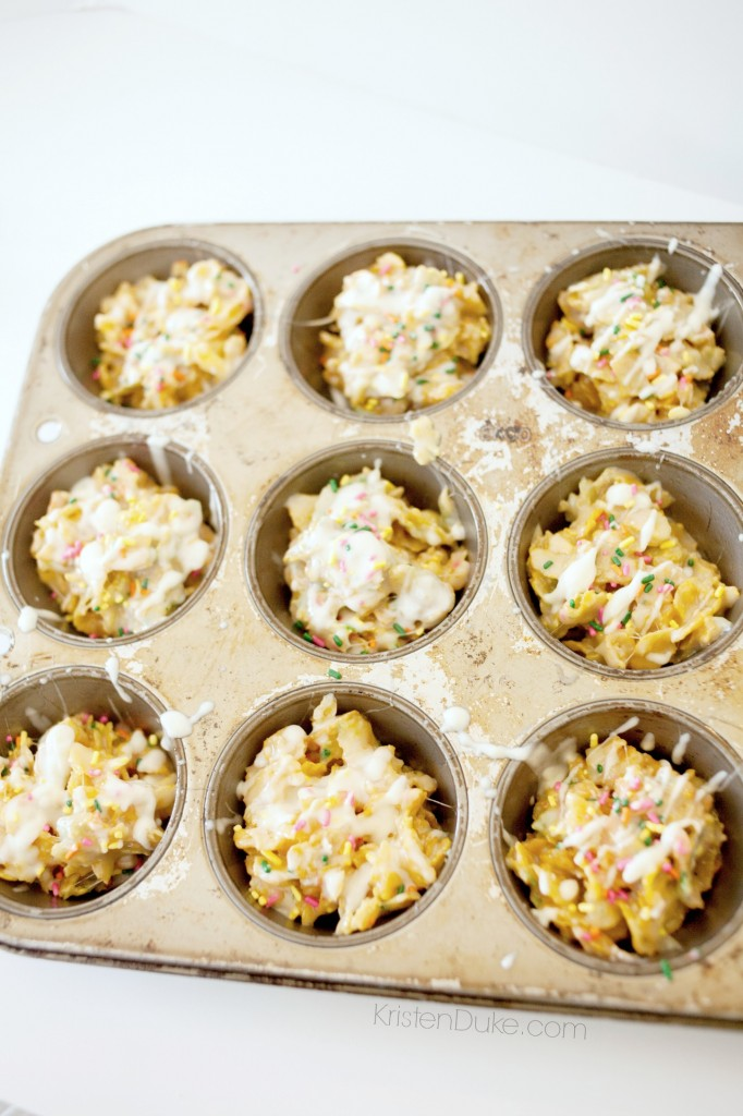Corn Flakes Treats in muffin tin