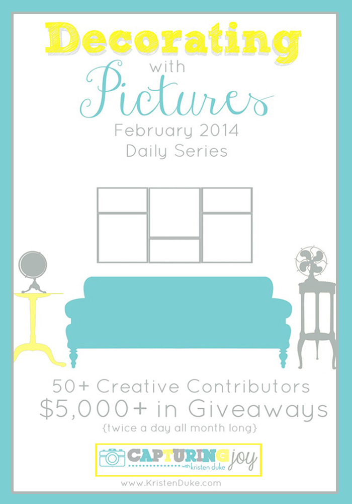 Decorating with Pictures Series: 54 creative contributors share their picture home decor along with over $5000 in giveaways all month. #photography #diy www.KristenDuke.com