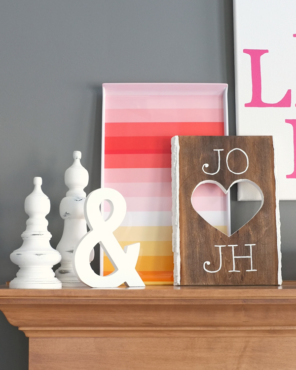 DIY Valentines Heart Cut-Out Plaque by Teal & Lime for kristendukephotography.com