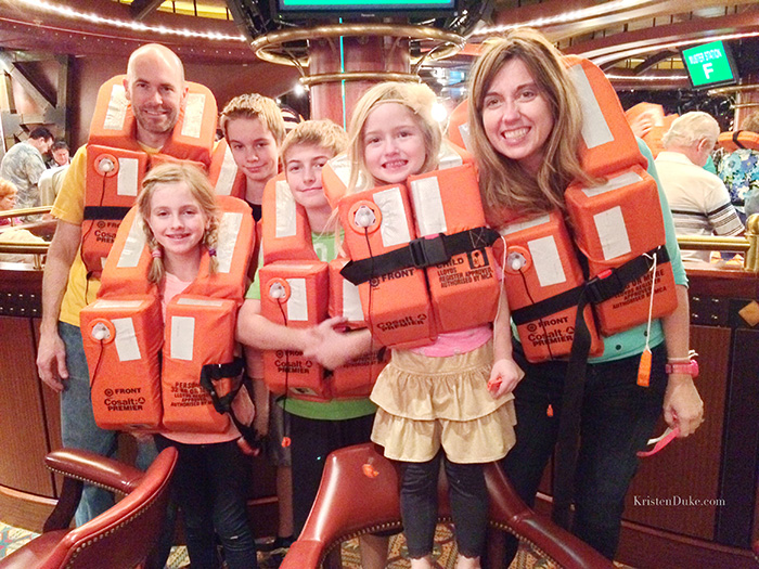 cruise trip drill with life vest