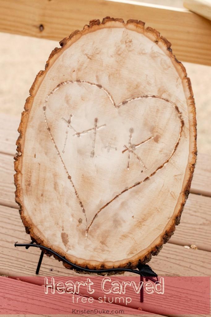 heart carved tree stump