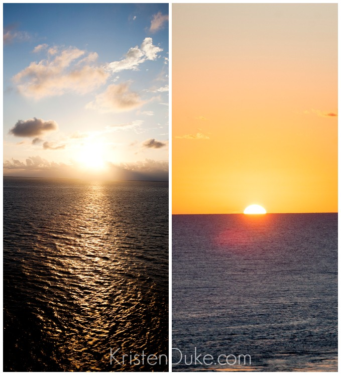 sunset and sunrise on the ocean
