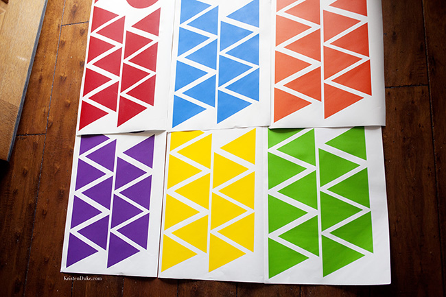 colorful vinyl triangles Fussy Mussy Designs