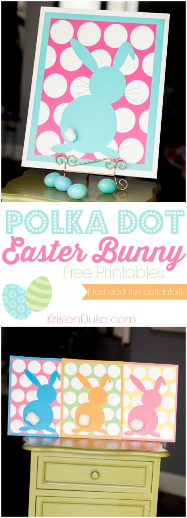 Polka Dot Easter Bunny Printables