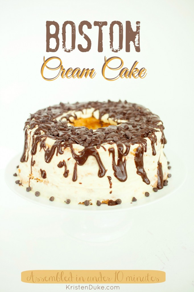 Boston Cream Cake  Assembled in under 10 minutes by KristenDuke.com