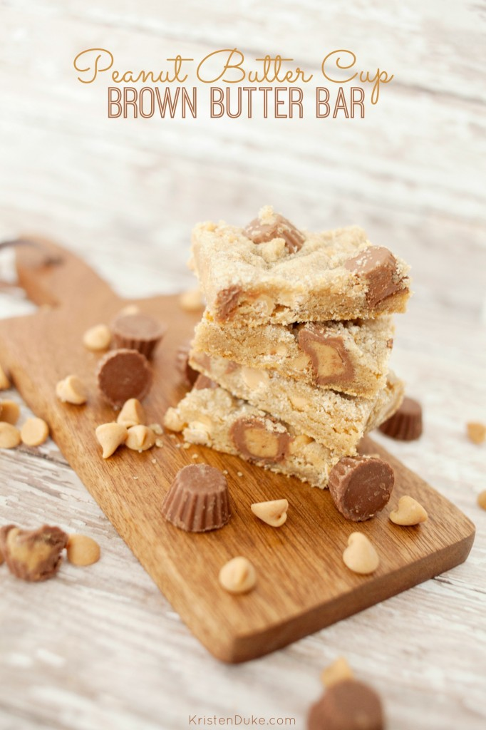 Brown Butter Bar with Peanut Butter Cups by KristenDuke.com