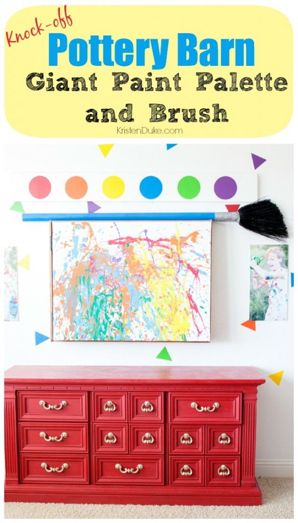 Pottery Barn Knock-off Giant Paint Palette and Brush
