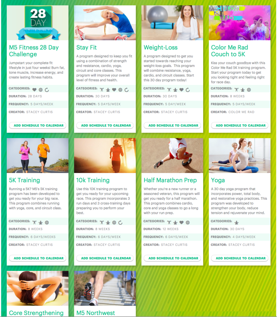 M5 fitness exercise options