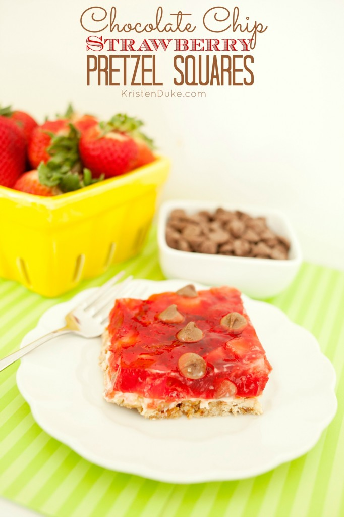 Strawberry Pretzel Salad Dessert Squares by KristenDuke.com