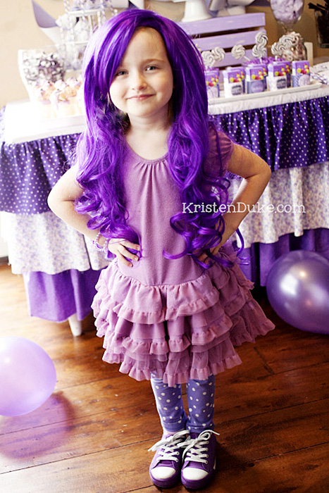 purple party wig