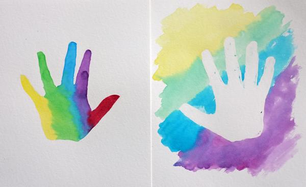 Easy Watercolor Handprints | Teal & Lime for KristenDukePhotography.com