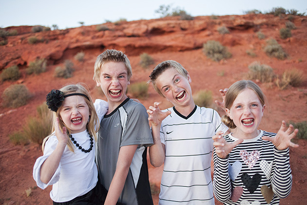 Kids making faces