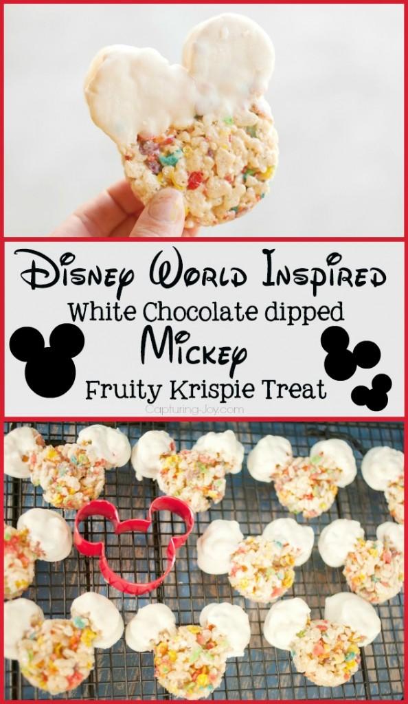 Disney World Inspired Mickey Fruity Krispie Treat, dipped in white chocolate