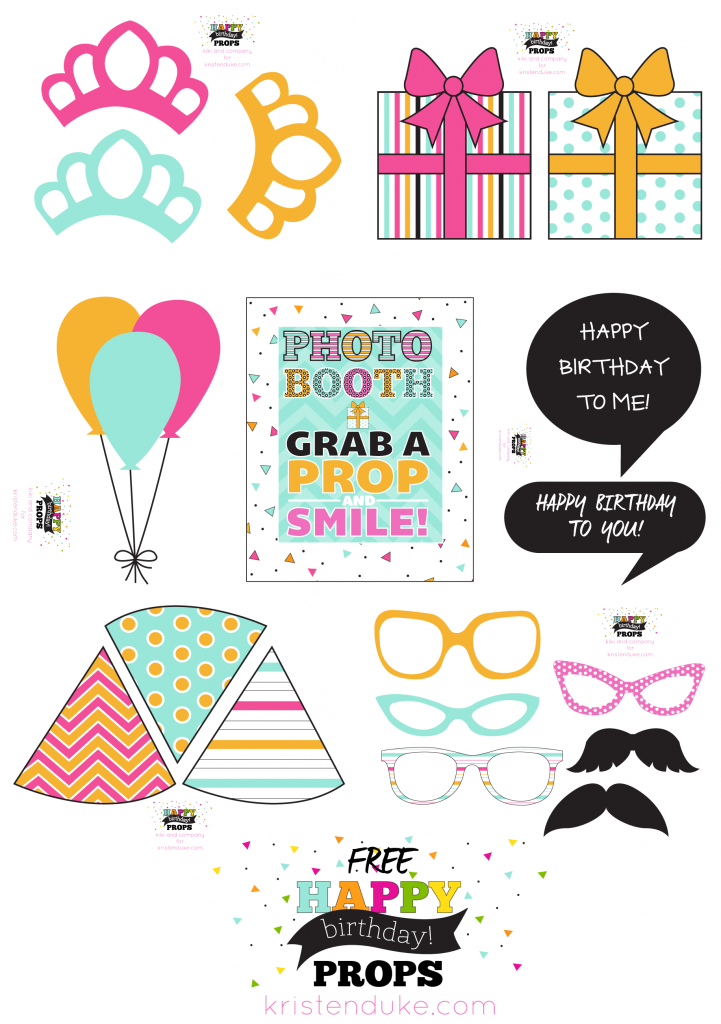 Free Happy Birthday Photo Props at kristenduke.com