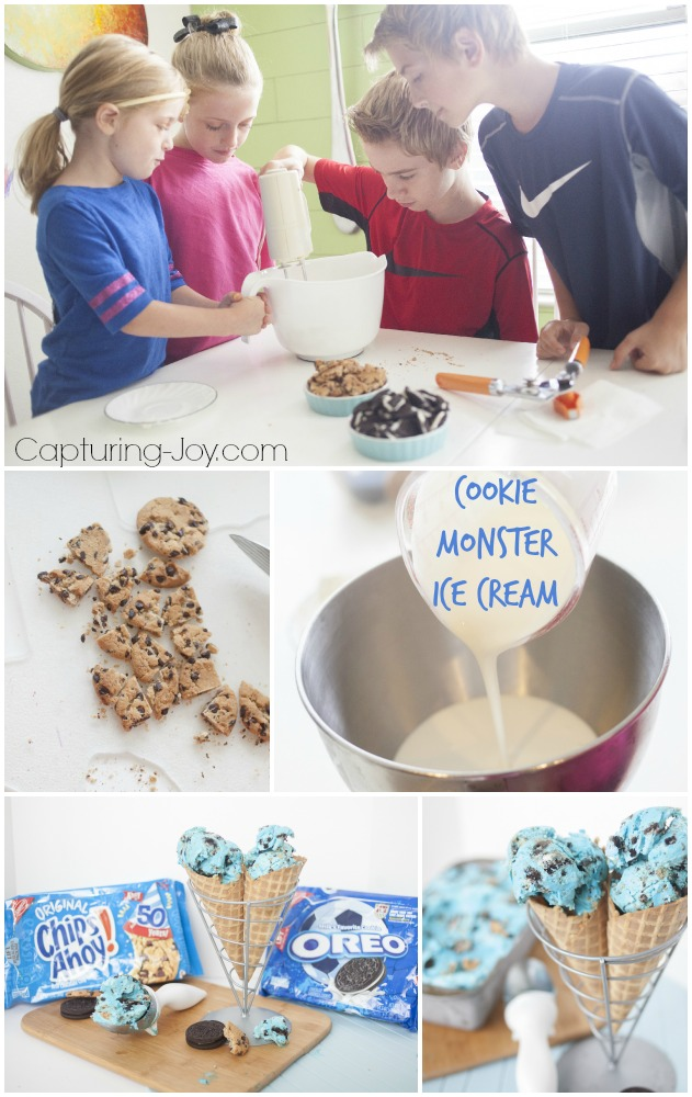 kids activity making cookie monster ice cream