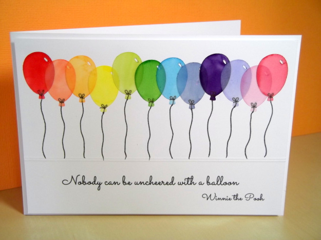 rainbow balloon card
