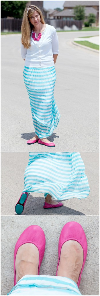 Tieks pink shoes with turquoise