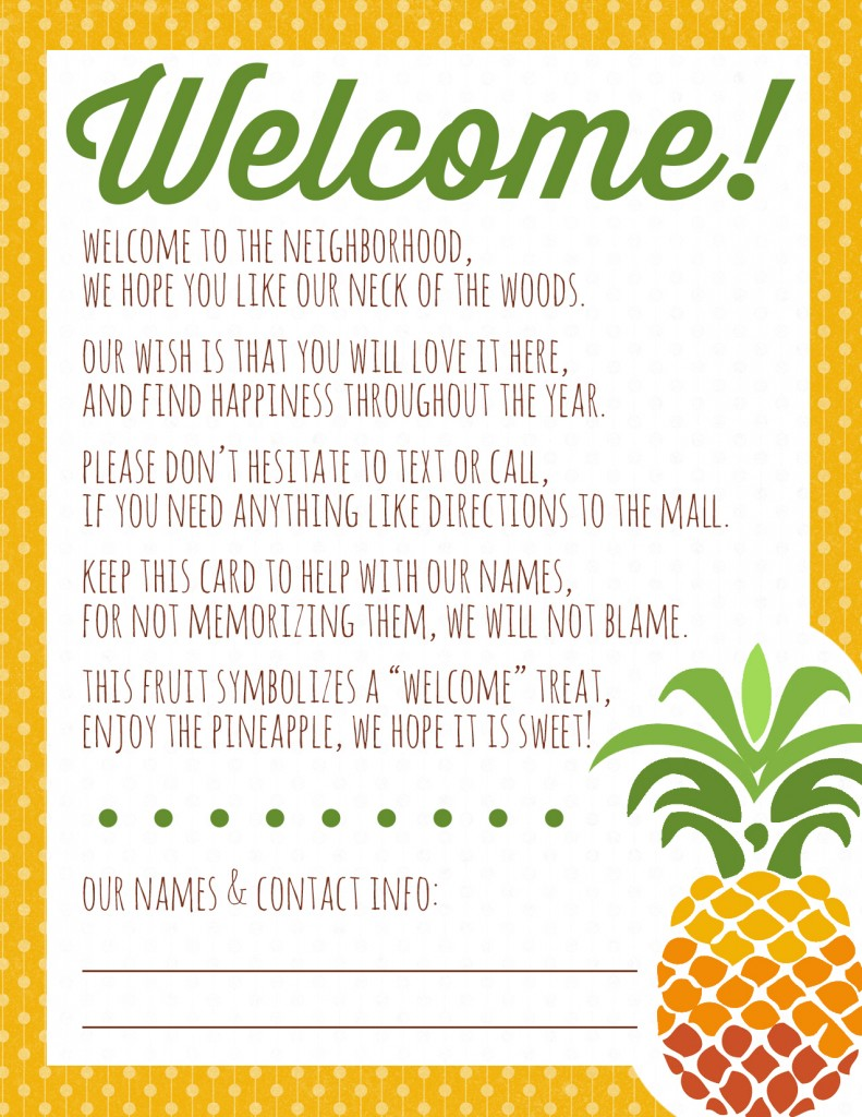 Welcome To The Neighborhood Pineapple Gift Printable