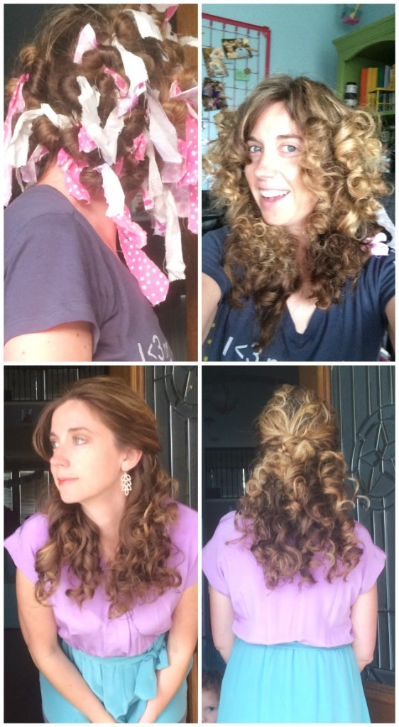 hair tied in rags