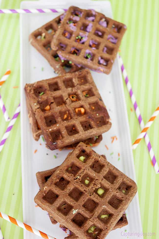 chocolate cookies made in the waffle iron