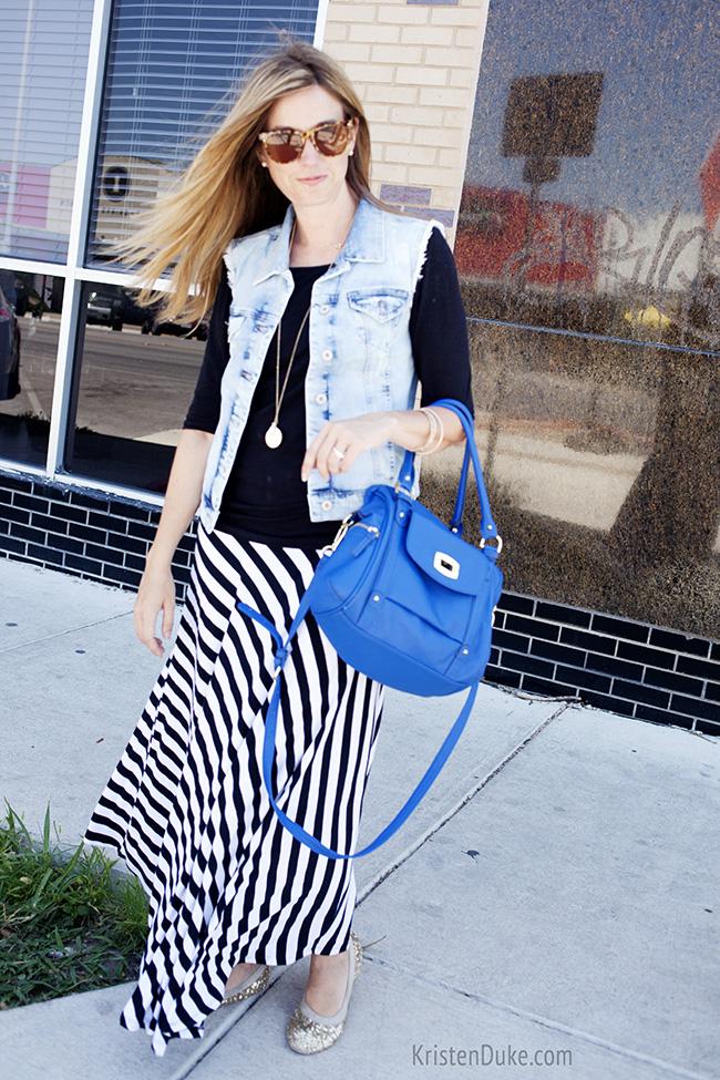 striped maxi skirt denim vest