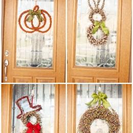 pumpkin and snowman and bunny wreath
