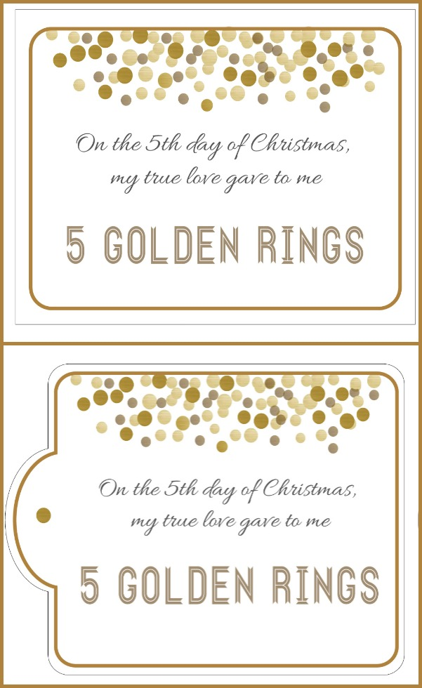 5 golden rings gift tags